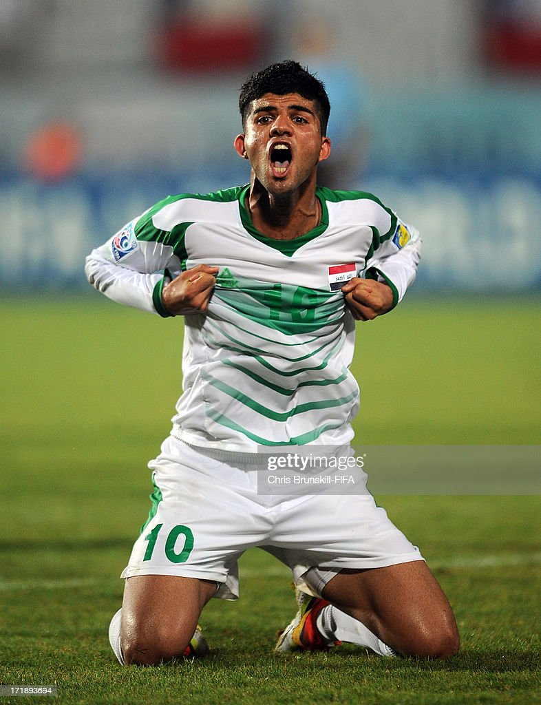 Mohammed Jabbar Arebat of Iraq celebrates his side's second goal during the FIFA U20 World Cup Group E match between Iraq and Chile at Akdeniz University Stadium on June 29, 2013 in Antalya, Turkey.