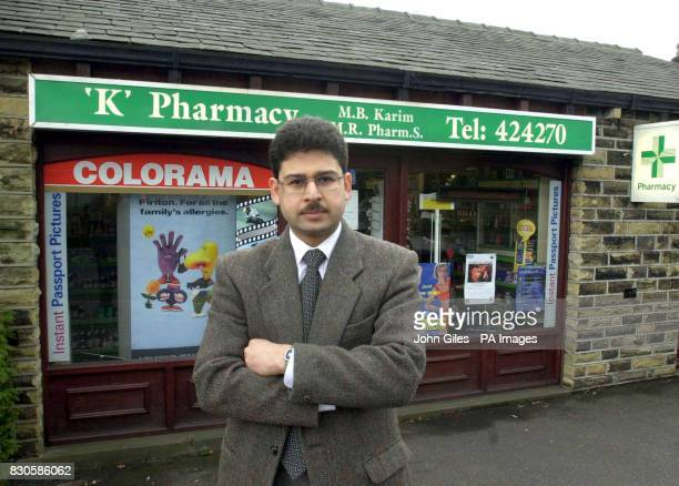 Mohammed Karim outside his Pharmacy near Huddersfield which was alledgedly robbed by a man believed to have caused a crash which killed Monica...