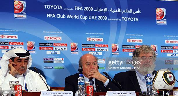 Mohammed Khalfan AlRumaithi president of United Arabic Emirates football association FIFA president Joseph Blatter and Chuck Blazer chairman of FIFA...
