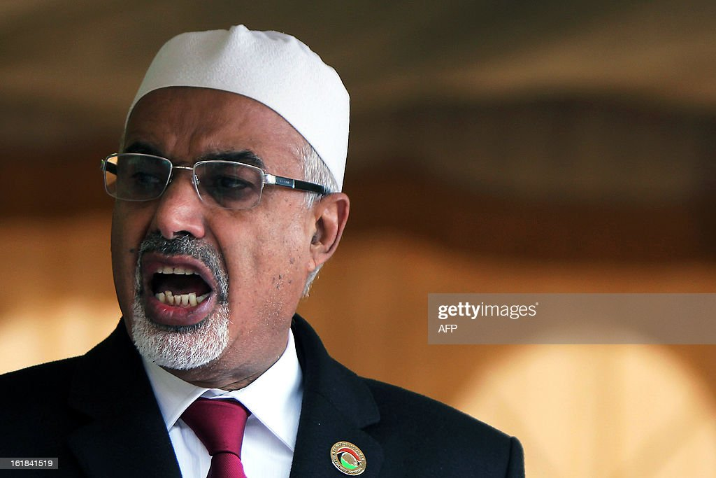 Mohammed Megaryef, president of the Libyan national assembly, delivers a speech during a ceremony marking the second anniversary of the start of the Libyan revolution at Tahrir Square in Benghazi on February 17, 2013. Security forces were on high alert across Libya as the north African nation marked two years since the start of the revolt that toppled Moamer Kadhafi after four decades of iron rule.