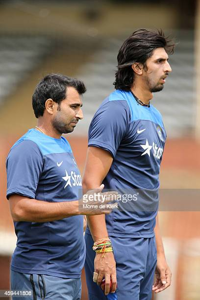 Mohammed Shami and Ishant Sharma look on during a training session for the Indian cricket team at Gliderol Stadium on November 23 2014 in Adelaide...