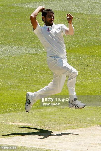 Mohammed Shami of India bowls during day two of the Third Test match between Australia and India at Melbourne Cricket Ground on December 27 2014 in...
