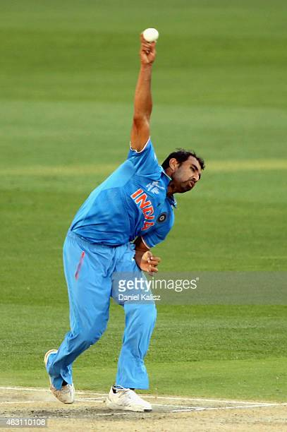 Mohammed Shami of India bowls during the 2015 ICC Cricket World Cup warm up match between India and Afghanistan at Adelaide Oval on February 10 2015...