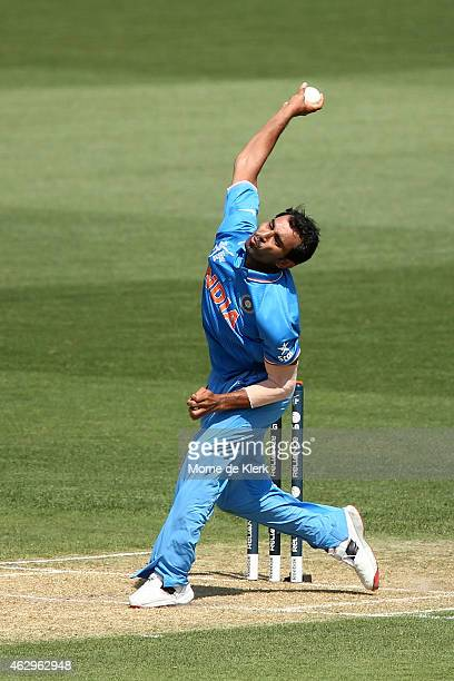 Mohammed Shami of India bowls during the ICC Cricket World Cup warm up match between Australia and India at Adelaide Oval on February 8 2015 in...