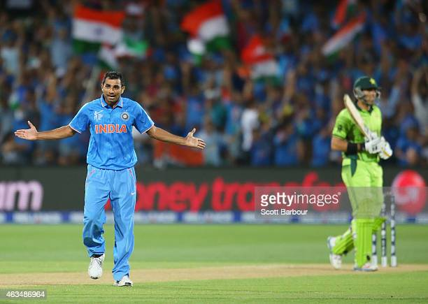 Mohammed Shami of India celebrates after dismissing MisbahulHaq of Pakistan during the 2015 ICC Cricket World Cup match between India and Pakistan at...