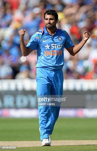 Mohammed Shami of India celebrates dismissing Jason Roy of England during the NatWest International T20 between England and India at Edgbaston on...