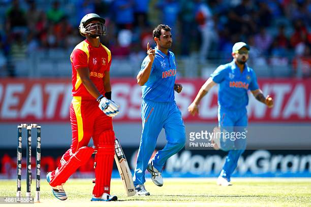 Mohammed Shami of India celebrates his wicket of Chamu Chibhabha of Zimbabwe during the 2015 ICC Cricket World Cup match between India and Zimbabwe...