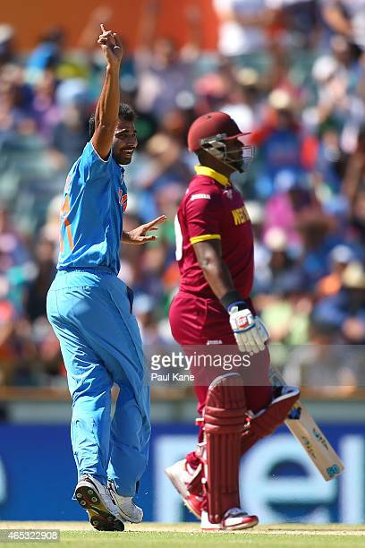 Mohammed Shami of India celebrates the dismissal of Dwayne Smith of the West Indies during the 2015 ICC Cricket World Cup match between India and the...
