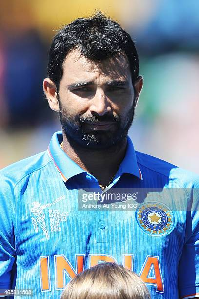 Mohammed Shami of India during the 2015 ICC Cricket World Cup match between Ireland and India at Seddon Park on March 10 2015 in Hamilton New Zealand