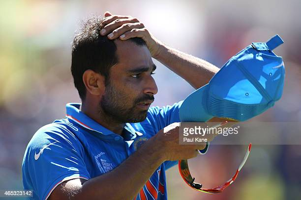 Mohammed Shami of India looks on during the 2015 ICC Cricket World Cup match between India and the West Indies at WACA on March 6 2015 in Perth...