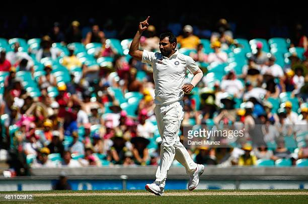 Mohammed Shami of India reacts after taking the wicket of Shaun Marsh of Australia during day two of the Fourth Test match between Australia and...