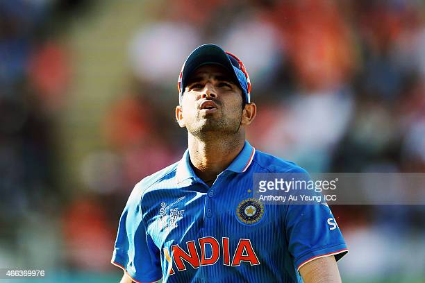 Mohammed Shami of India reacts during the 2015 ICC Cricket World Cup match between India and Zimbabwe at Eden Park on March 14 2015 in Auckland New...