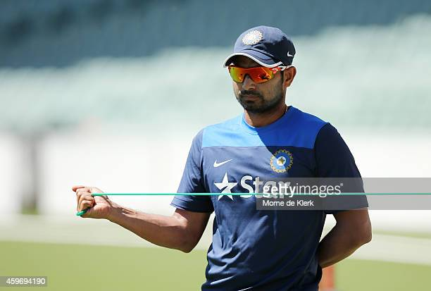Mohammed Shami of India stretches during an India training session at Adelaide Oval on November 29 2014 in Adelaide Australia