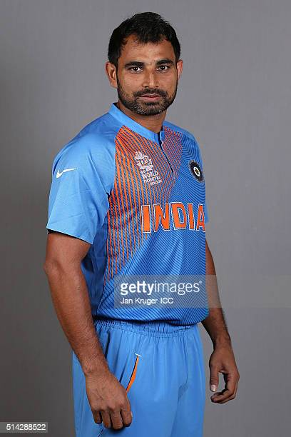 Mohammed Shami poses during the India Headshots session ahead of the ICC Twenty20 World Cup on March 8 2016 in Kolkata India