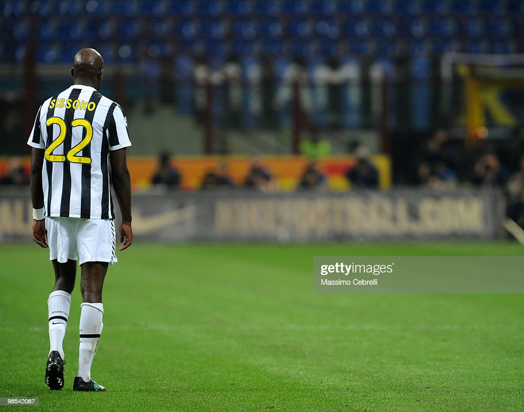 Mohammed Sissoko of Juventus FC let the pitch after taking a red card during the Serie A match between FC Internazionale Milano and Juventus FC at Stadio Giuseppe Meazza on April 16, 2010 in Milan, Italy.
