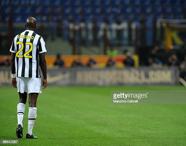 Mohammed Sissoko of Juventus FC let the pitch after taking a red card during the Serie A match between FC Internazionale Milano and Juventus FC at...