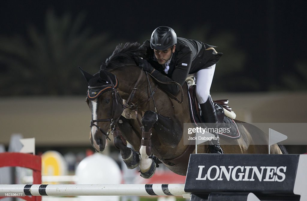 Mohammed Talaat of Egypt clears a hurdle on Goldex during the President of the UAE Showjumping Cup - Furusyiah Nations Cup Series presented by Longines on February 21, 2013 in Al Ain, United Arab Emirates.