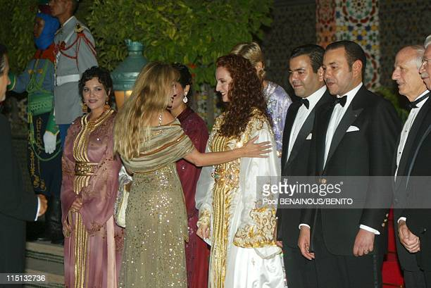 Mohammed VI and his wife Salma at the Marrakech film festival in Morocco on September 19 2002 Arielle Bombasle