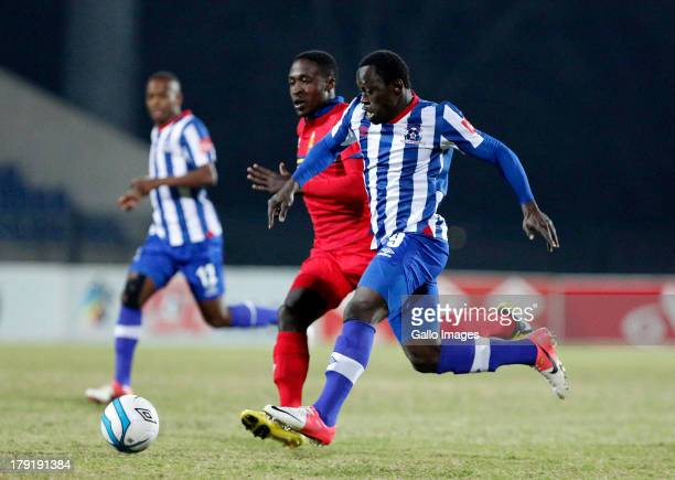 Mohammed Yakubu of Maritzburg United on the ball during the Absa Premiership match between Maritzburg United and University of Pretoria from Harry...