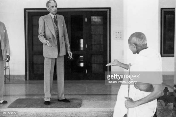 Mohandas Karamchand Gandhi leaves the home of Muhammad Ali Jinnah founder of the Muslim League en route to the Viceroy's Lodge in Delhi 24th November...