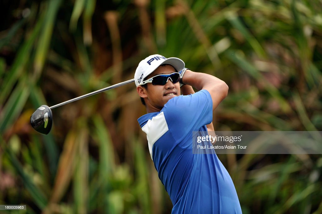 Mohd Arie Fauzi of Malaysia plays a shot during round three of the Asian Tour Qualifying School Final Stage at Springfield Royal Country Club on January 25, 2013 in Hua Hin, Thailand.