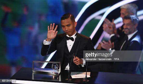 Mohd Faiz Subri of Malaysia and Penang accepts the FIFA Puskas Award during The Best FIFA Football Awards at TPC Studio on January 9 2017 in Zurich...