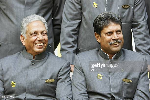 Mohinder Amarnath a member of the 1983 World Cup winning Indian cricket team and man of the match and Kapil Dev team captain speak to media at Lords...