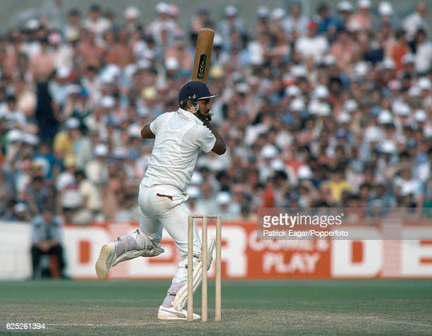 Mohinder Amarnath batting for India during the Prudential World Cup Semi Final between England and India at Old Trafford Manchester 22nd June 1983