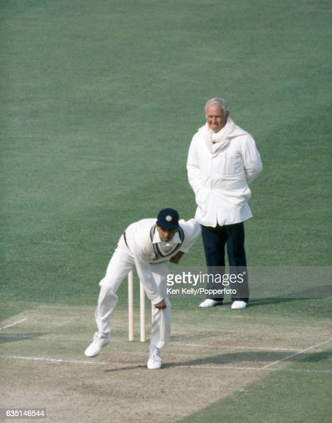 Mohinder Amarnath bowling for India during the 1st Test match between England and India at Lord's Cricket Ground London 5th June 1986 The umpire is...