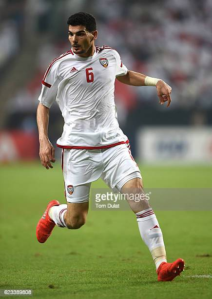 Mohnad Salem of UAE in action during the 2018 FIFA World Cup Qualifier match between UAE and Iraq at Mohamed Bin Zayed Stadium on November 15 2016 in...