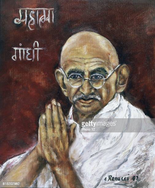 Mohondas Karamchand Gandhi known as Mahatma Indian Nationalist leader Painting by Renucci 1982 Collection of Indian Ambassador Paris