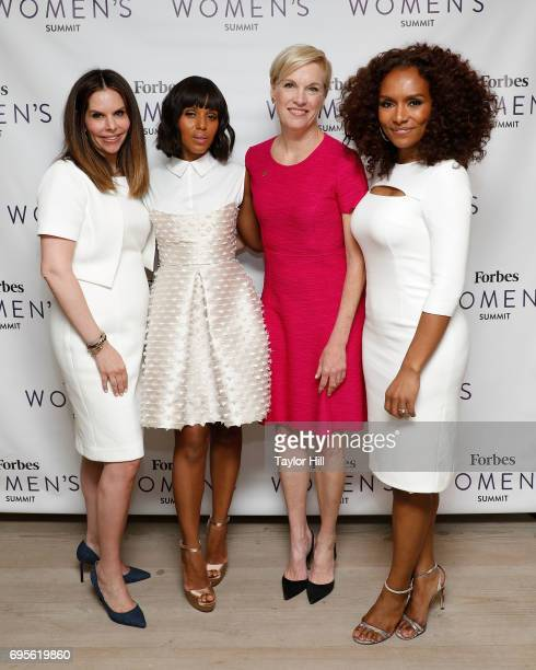 Moira Forbes Kerry Washington Cecile Richards and Janet Mock attend the 2017 Forbes Women's Summit at Spring Studios on June 13 2017 in New York City