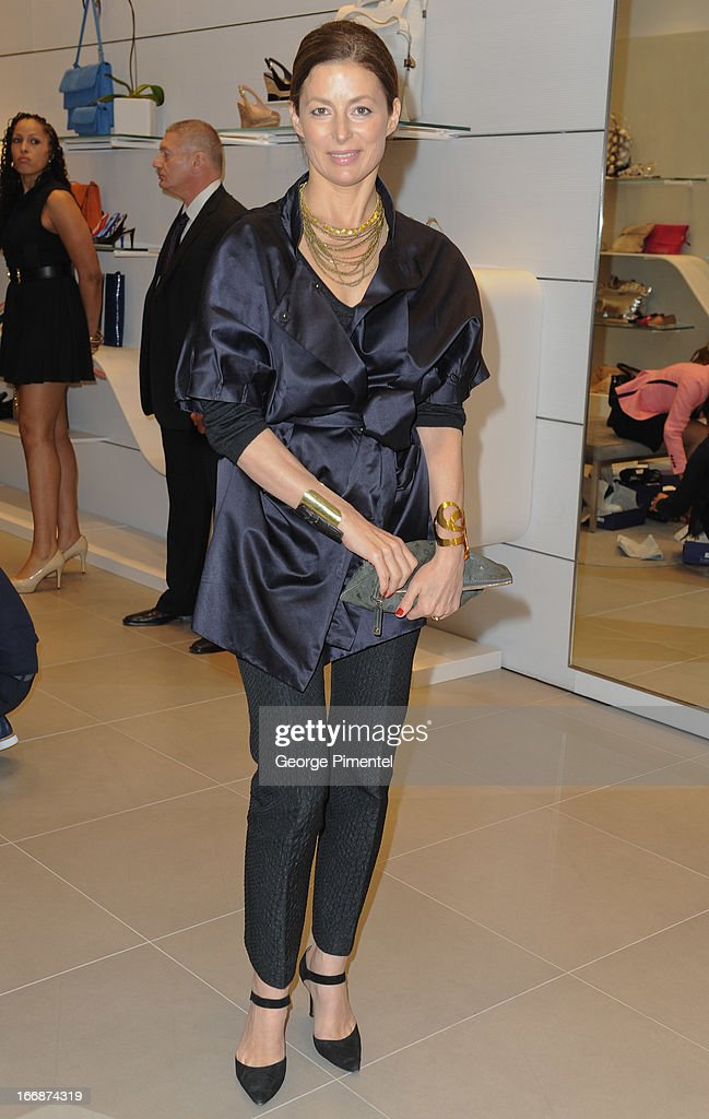 Moira Wright attends opening of Stuart Weitzman Boutique on April 17, 2013 in Toronto Ontario Canada.
