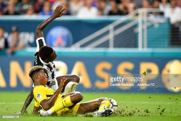 Moise Bioty Kean of Juventus gains a penalty kick during the International Champions Cup 2017 match between Paris Saint Germain and Juventus at Hard...