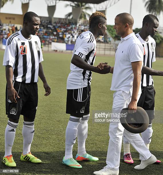 Moise Katumbi the governor of the Katanga region of the Democratic Republic of Congo and president of the TP Mazembe Lubumbashi football club shakes...