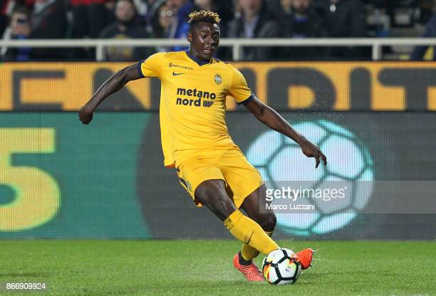 Moise Kean of Hellas Verona FC in action during the Serie A match between Atalanta BC and Hellas Verona FC at Stadio Atleti Azzurri d'Italia on...