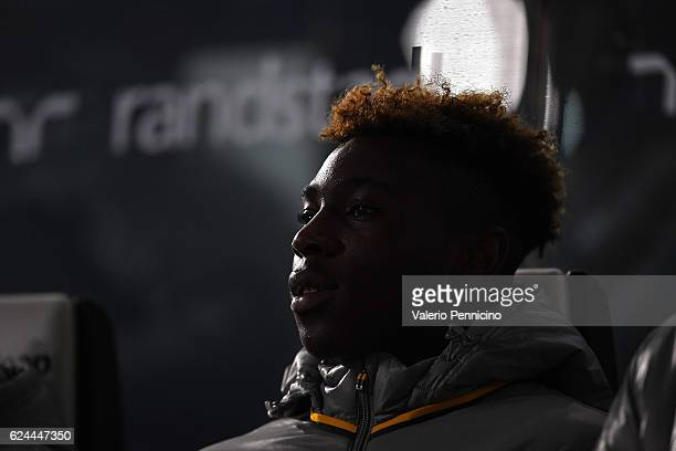 Moise Kean of Juventus FC sits on the bench prior to the Serie A match between Juventus FC and Pescara Calcio at Juventus Stadium on November 19 2016...