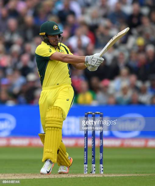 Moises Henriques of Australia bats during the ICC Champions Trophy match between England and Australia at Edgbaston on June 10 2017 in Birmingham...
