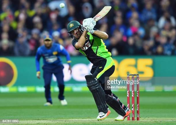 Moises Henriques of Australia bats during the second International Twenty20 match between Australia and Sri Lanka at Simonds Stadium on February 19...