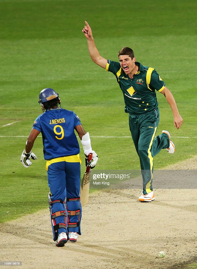 <a gi-track='captionPersonalityLinkClicked' href=/galleries/search?phrase=Moises+Henriques&family=editorial&specificpeople=875812 ng-click='$event.stopPropagation()'>Moises Henriques</a> of Australia celebrates taking the wicket of Jeevan Mendis of Sri Lanka during game five of the Commonwealth Bank One Day International series between Australia and Sri Lanka at Blundstone Arena on January 23, 2013 in Hobart, Australia.
