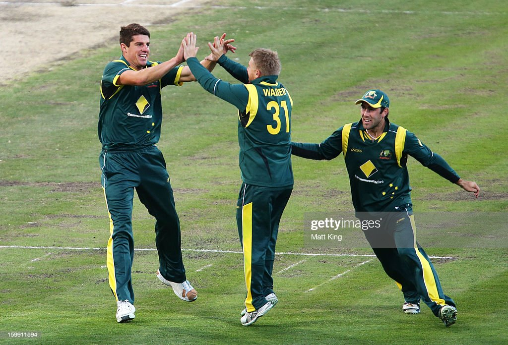 <a gi-track='captionPersonalityLinkClicked' href=/galleries/search?phrase=Moises+Henriques&family=editorial&specificpeople=875812 ng-click='$event.stopPropagation()'>Moises Henriques</a> (L) of Australia celebrates with David Warner (C) and Trent Maxwell (R) after taking the wicket of Tillakaratne Dilshan of Sri Lanka during game five of the Commonwealth Bank One Day International series between Australia and Sri Lanka at Blundstone Arena on January 23, 2013 in Hobart, Australia.
