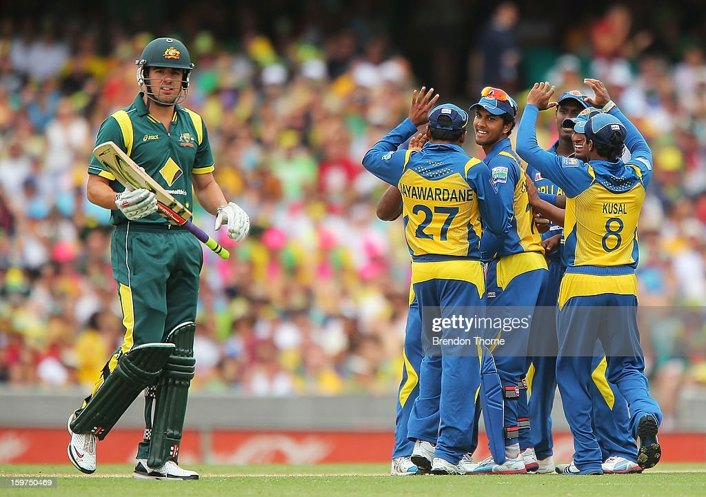 Moises Henriques of Australia walks back to the dressing rooms after being dismissed by Rangana Herath of Sri Lanka during game four of the Commonwealth Bank one day international series between Australia and Sri Lanka at Sydney Cricket Ground on January 20, 2013 in Sydney, Australia.