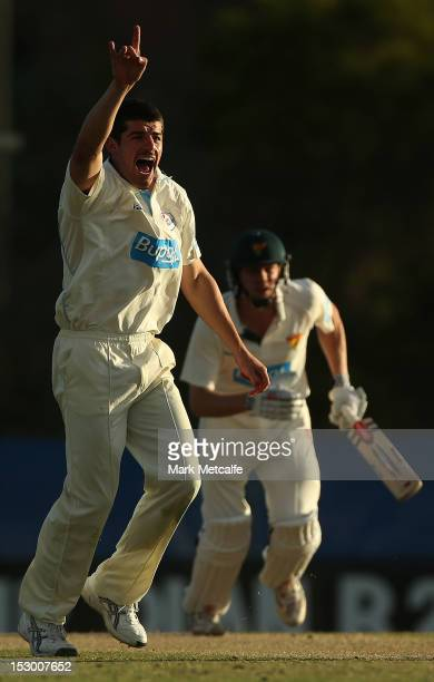 Moises Henriques of New South Wales appeals for lbw to claim the wicket of James Faulkner of Tasmania during during day four of the Sheffield Shield...