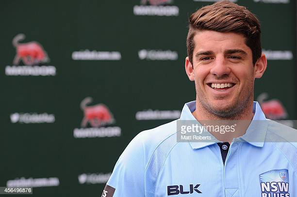 Moises Henriques of New South Wales speaks to media during the Matador BBQs Cup series launch at The Gabba on October 2 2014 in Brisbane Australia