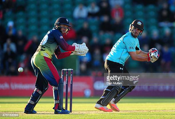 Moises Henriques of Surrey bats during the NatWest T20 Blast match between Kent and Surrey at The County Ground on May 29 2015 in Beckenham England