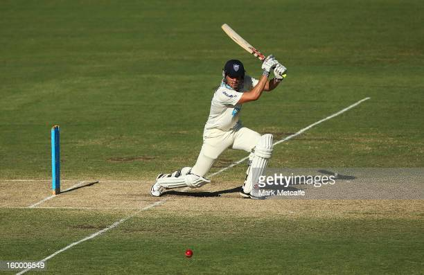 Moises Henriques of the Blues bats during day two of the Sheffield Shield match between the New South Wales Blues and the Western Australia Warriors...