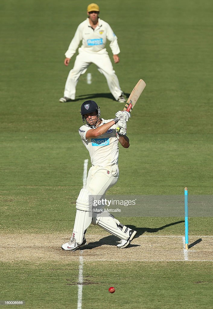 Moises Henriques of the Blues bats during day two of the Sheffield Shield match between the New South Wales Blues and the Western Australia Warriors at Blacktown International Sportspark on January 25, 2013 in Sydney, Australia.