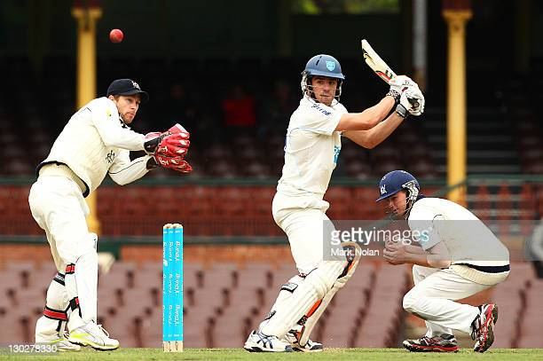 Moises Henriques of the Blues bats during day two of the Shieffield Shield match between the New South Wales Blues and the Victoria Bushrangers at...