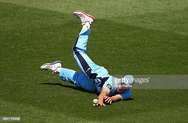 Moises Henriques of the Blues drops a catch during the Matador BBQs One Day Cup final match between New South Wales and South Australia at North...