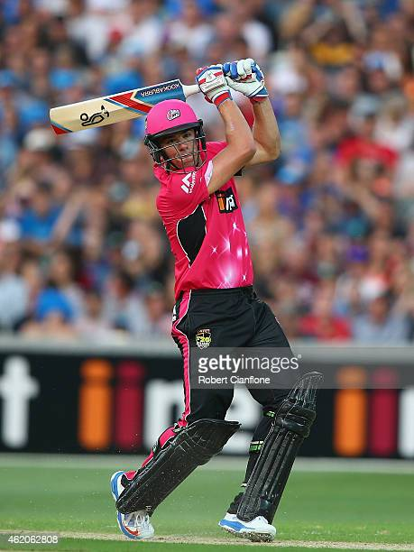 Moises Henriques of the Sydney Sixers bats during the Big Bash League Semi Final match between the Adelaide Strikers and the Sydney Sixers at...